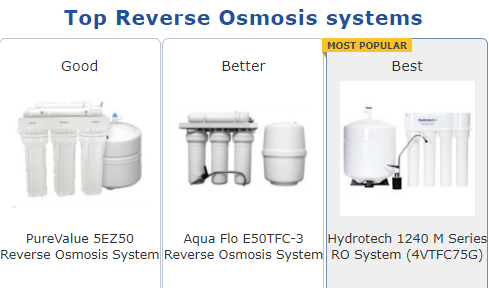 screenshot of RO systems on Filters Fast site
